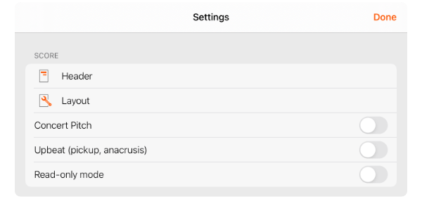 Score section of Settings
