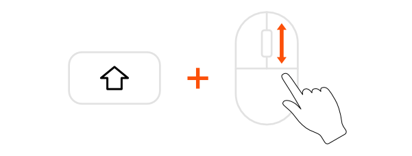 Horizontal scrolling with mouse wheel