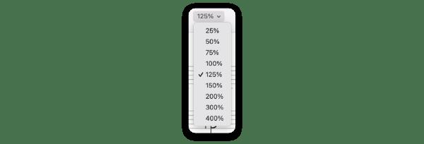 Zoom scales menu