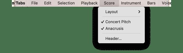 Score menu
