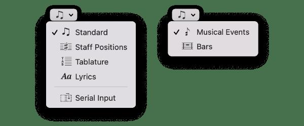 Selection type popup menus