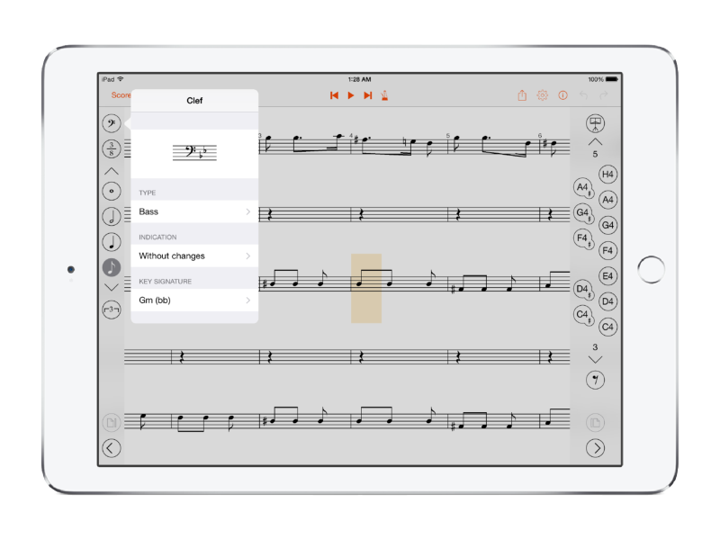 Customize parameters for clefs, time signatures, note values, etc.