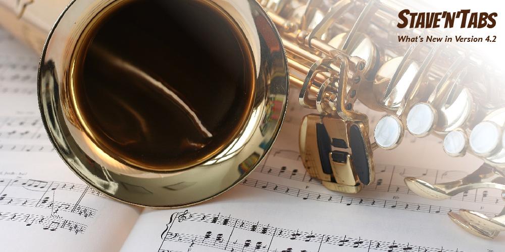 Stave'n'Tabs 4.2 - Transposing instruments: Saxophones