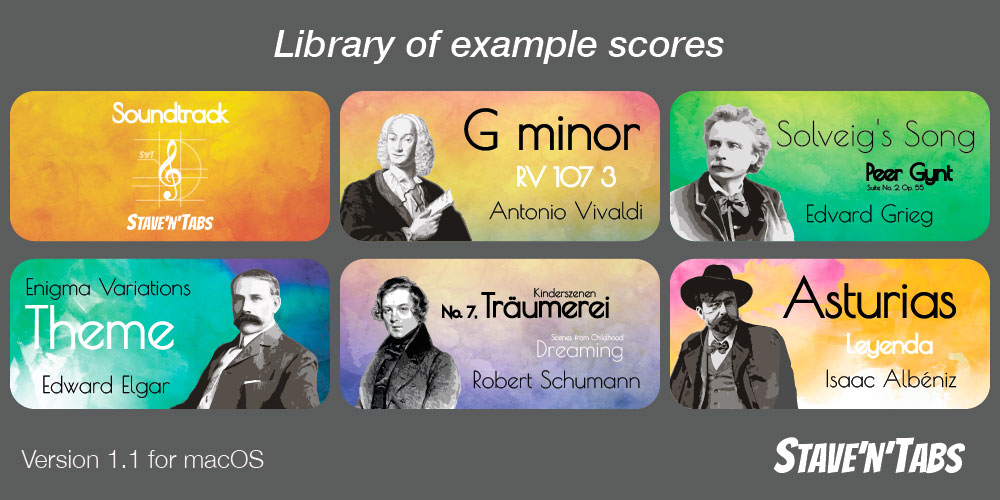 Stave'n'Tabs macOS 1.1: Library of example scores