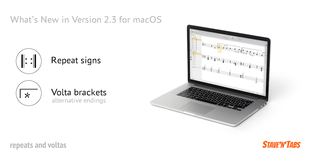 Stave'n'Tabs macOS 2.3: Repeats and voltas