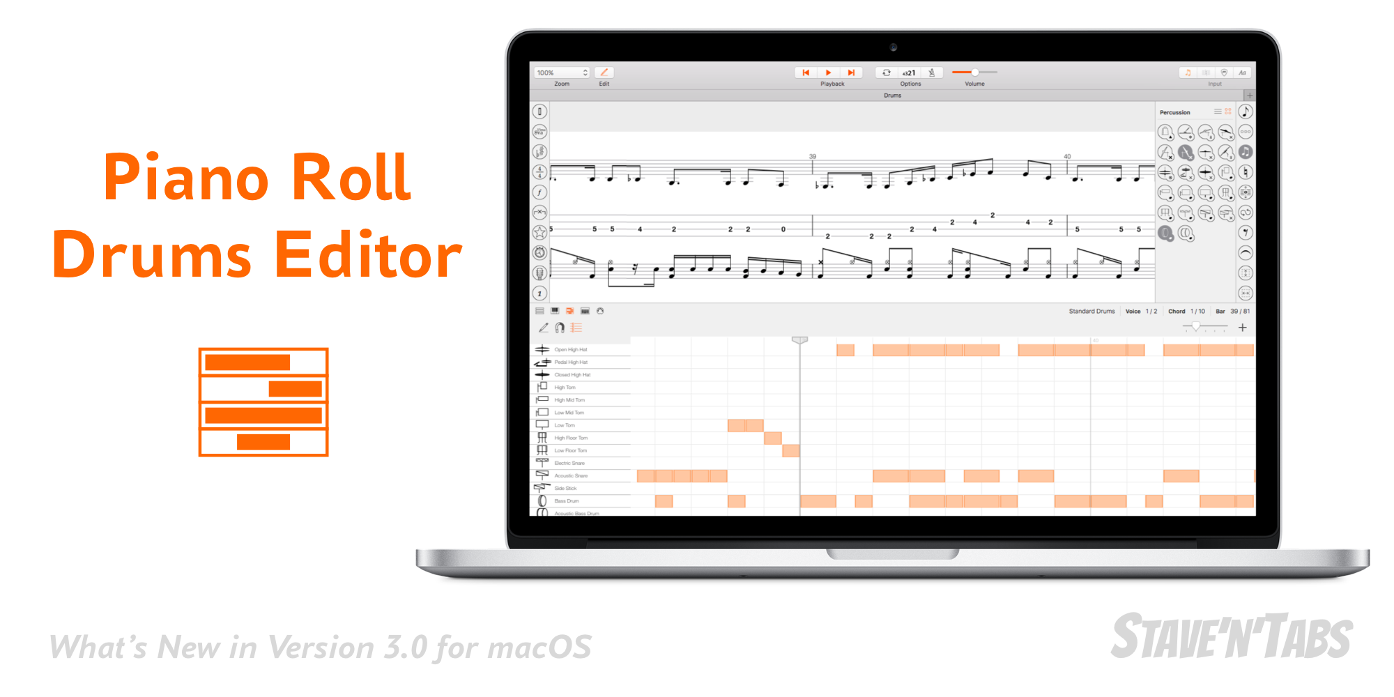 Stave'n'Tabs macOS 3.0: Sophisticated Piano Roll and Drums Editor