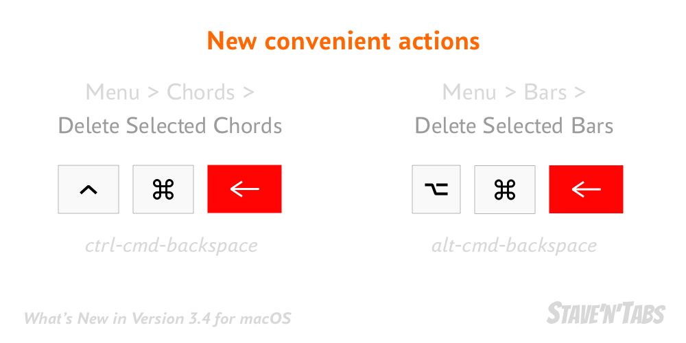 Stave'n'Tabs macOS 3.4: New convenient menu actions