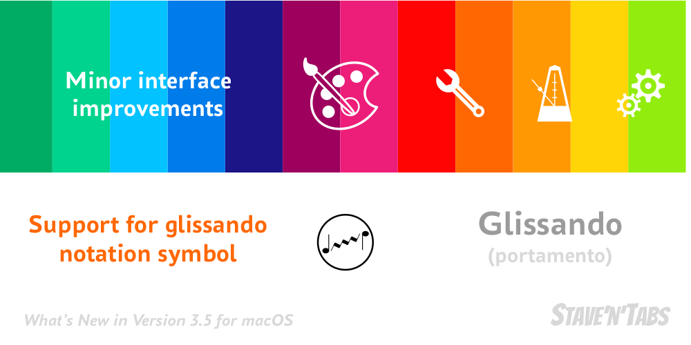 Stave'n'Tabs macOS 3.5: Interface improvements and glissandos