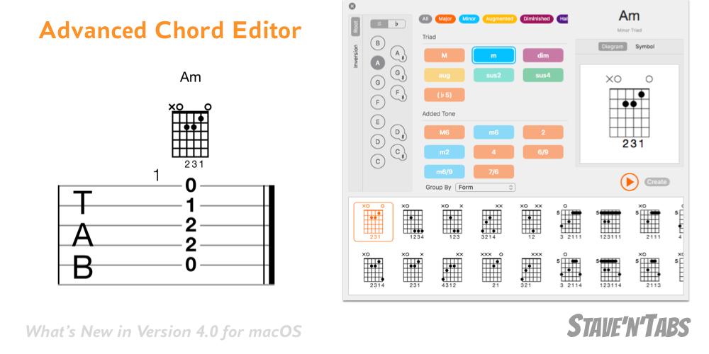 Stave'n'Tabs macOS 4.0: Chord Editor